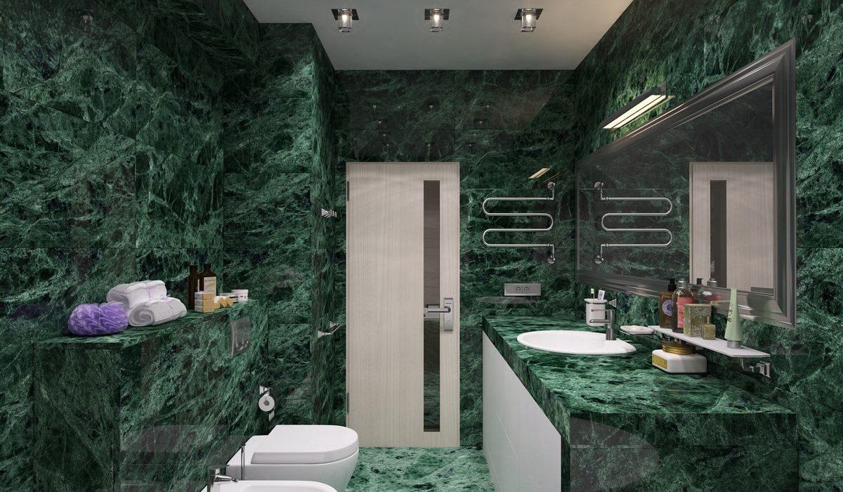 зеленый мрамор в интерьере